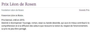 Prêmio Leon de Rosen_Academie francaise